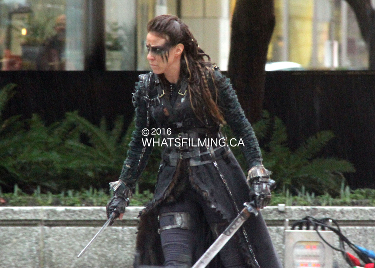 Lexa from The 100 Filming in Vancouver