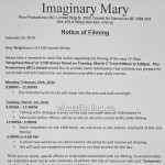 Imaginary Mary Filming Notice for March 1st Homer Street and Brix