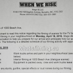 When We Rise Filming Notice April 18, 2016 Beach Ave Vancouver