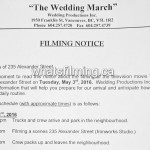 The Wedding March Filming Notice May 3, 2016 Ironworks Vancouver