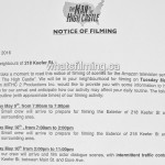The Man in the High Castle Filming Notice May 10, 2016 Keefer Chinatown Vancouver