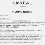 UnREAL Filming Notice Fraser Foreshore Burnaby