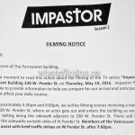 Impastor Filming Notice May 19, 2016 Vancouver Permanent Building W Pender St