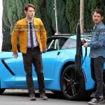 Samuel Barnett & Elijah Wood on set of Dirk Gently