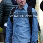 Elijah Wood as 'Todd' on set of Dirk Gently