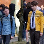 Samuel Barnett & Elijah Wood on set of Dirk Gently
