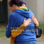 Samuel Barnett & Max Landis share a hug on set of Dirk Gently