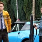 Elijah Wood & Samuel Barnett on set of Dirk Gently