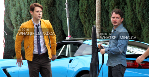 Elijah Wood & Samuel Barnett on set of Dirk Gently