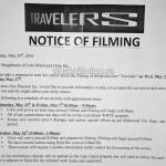Travelers Filming Notice May 25, 26, 27 Dyke Road Gilbert Road Richmond