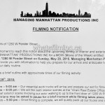 Managing Manhattan Filming Notice May 29, 2016 W Pender St Vancouver