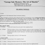 Garage Sale Mystery Filming Notice June 2, 3, 2016 Ironworks Alexander Street Vancouver