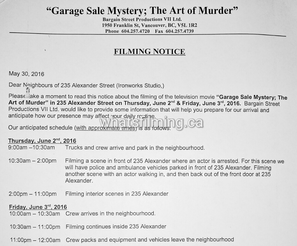 Garage Sale Mystery Filming Notice June 2, 3, 2016 Ironworks