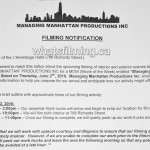 Managing Manhattan Filming Notice June 2, 2016 L'Hermitage Hotel Richards Street Vancouver