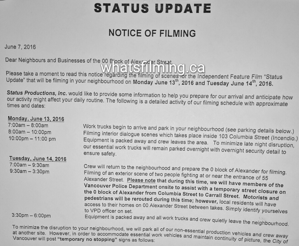 Status Update Movie Starts Filming in Vancouver This Spring