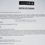 Travelers Filming Notice June 17, 20, 2016 Collingwood St & 2nd Ave, Kitsilano, Vancouver