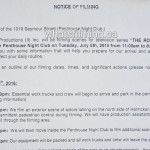 The Romeo Section Filming Notice July 5, 2016 Penthouse Night/Strip Club Seymour Street, Vancouver