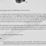 The Romeo Section Filming Notice July 14, 2016 Homer St Vancouver