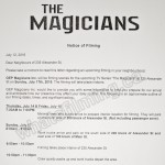 The Magicians Filming Notice July 17, 2016 Ironworks, Alexander Street, Vancouver