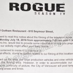 Rogue Filming Notice July 18, 2016 Gotham Restaurant, Seymour St, Vancouver