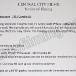 The Flash Filming Notice July 18, 2016 Pronto Restaurant Cambie Street & W 17th Ave, Vancouver