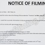 Travelers Filming Notice July 18, 2016 Train on Main, Main St, Vancouver