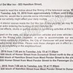 Rogue Filming Notice July 19, 2016 Del Mar Inn, Hamilton St, Vancouver