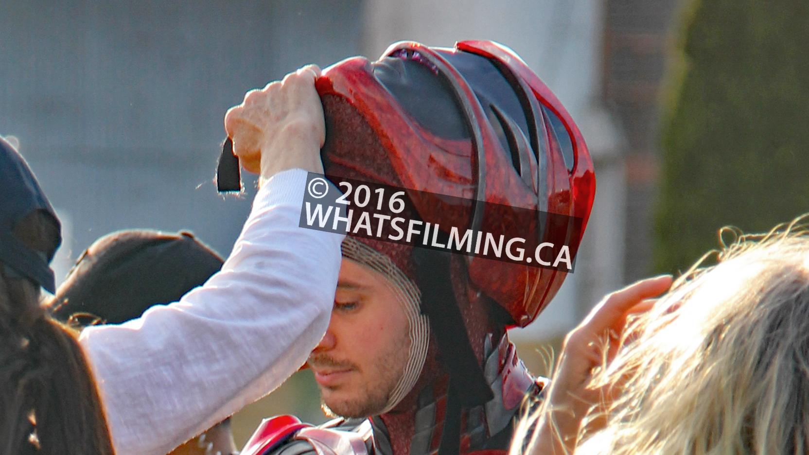 Power Rangers Movie: Closeup of the Red Ranger suit's helmet
