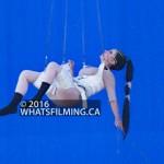 Rita Repulsa air wall bluescreen stunt work at Boundary Rd & E Kent Ave