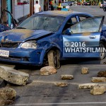 Power Rangers Movie: Destroyed car on Moncton Street in Steveston Village