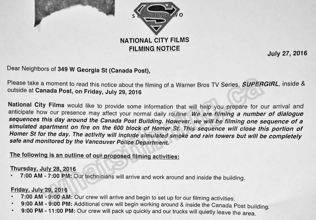 Supergirl Filming Notice July 29, 2016 at Canada Post Building and Homer Street, Vancouver