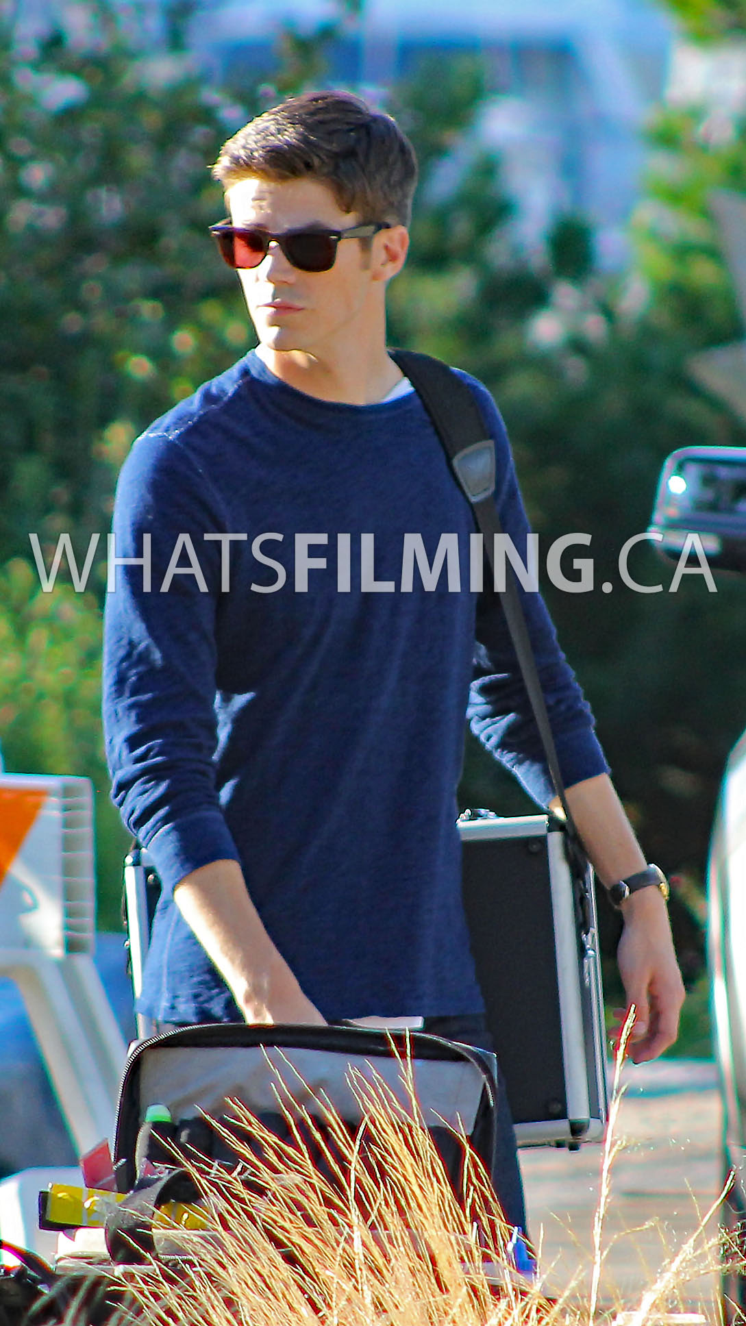 Grant Gustin as Barry Allen filming The Flash Season 3 Episode 2 in Vancouver