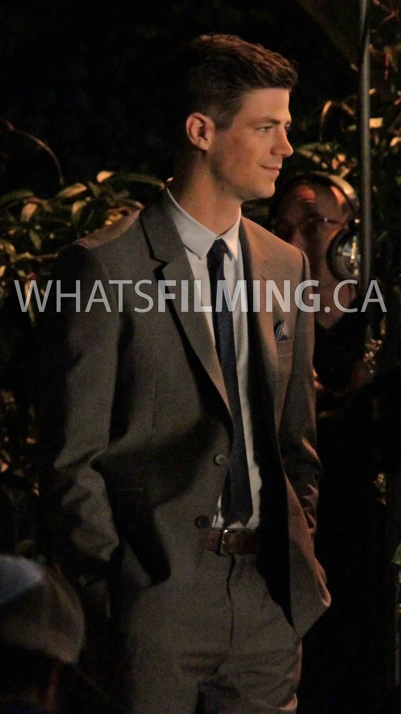 Grant Gustin in the Flash suit after filming a scene for The Flash season 3 episode 3
