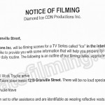 Ice Filming Notice August 10, 2016 at Twelve West on Granville St in Vancouver
