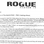 Rogue Filming Notice August 11, 2016 at Astoria Hotel on E Hastings St in Vancouver