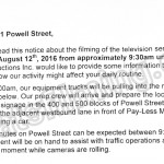 Rogue Filming Notice August 12, 2016 on Powell St in Vancouver