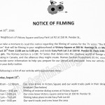 The Romeo Section Filming Notice August 15, 2016 at Victory Square and W Pender Street in Vancouver