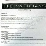 The Magicians Filming Notice August 19, 2016 at 2415 Columbia St in Vancouver