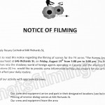 The Romeo Section Filming Notice August 19, 2016 at Holy Rosary Cathedral on Richards St in Vancouver