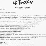 No Tomorrow Filming Notice August 24-25, 2016 at 7337 N Fraser Way, Burnaby