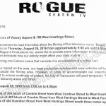 Rogue Filming Notice August 25th at Victory Square and 198 W Hastings St, Vancouver