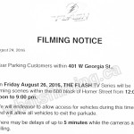 The Flash Filming Notice August 26, 2016 at 600 Homer St in Vancouver