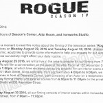 Rogue Filming Notice August 29-30, 2016 at Deacon's Corner, Alibi Room & Ironworks Studio in Vancouver