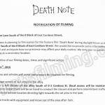 Death Note Filming Notice August 31, 2016 at 0 Block E Cordova Street in Gastown, Vancouver