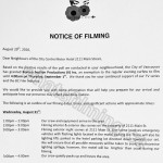 The Romeo Section Filming Notice August 31, 2016 at City Centre Hotel on Main St in Vancouver