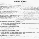 My So Called Wife Filming Notice September 6, 2016 at 100 Block Alexander St in Gastown, Vancouver