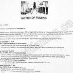 The Arrangement Filming Notice September 6, 2016 at 100 Powell St in Gastown, Vancouver