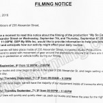 My So Called Wife Filming Notice September 7-8, 2016 at Ironworks Studio on Alexander St in Vancouver