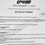 Legends Of Tomorrow Filming Notice September 9, 2016 at Hotel Georgia in Vancouver