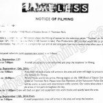 Timeless Filming Notice September 12, 2016 at Thornton Park near Pacific Central Station in Vancouver